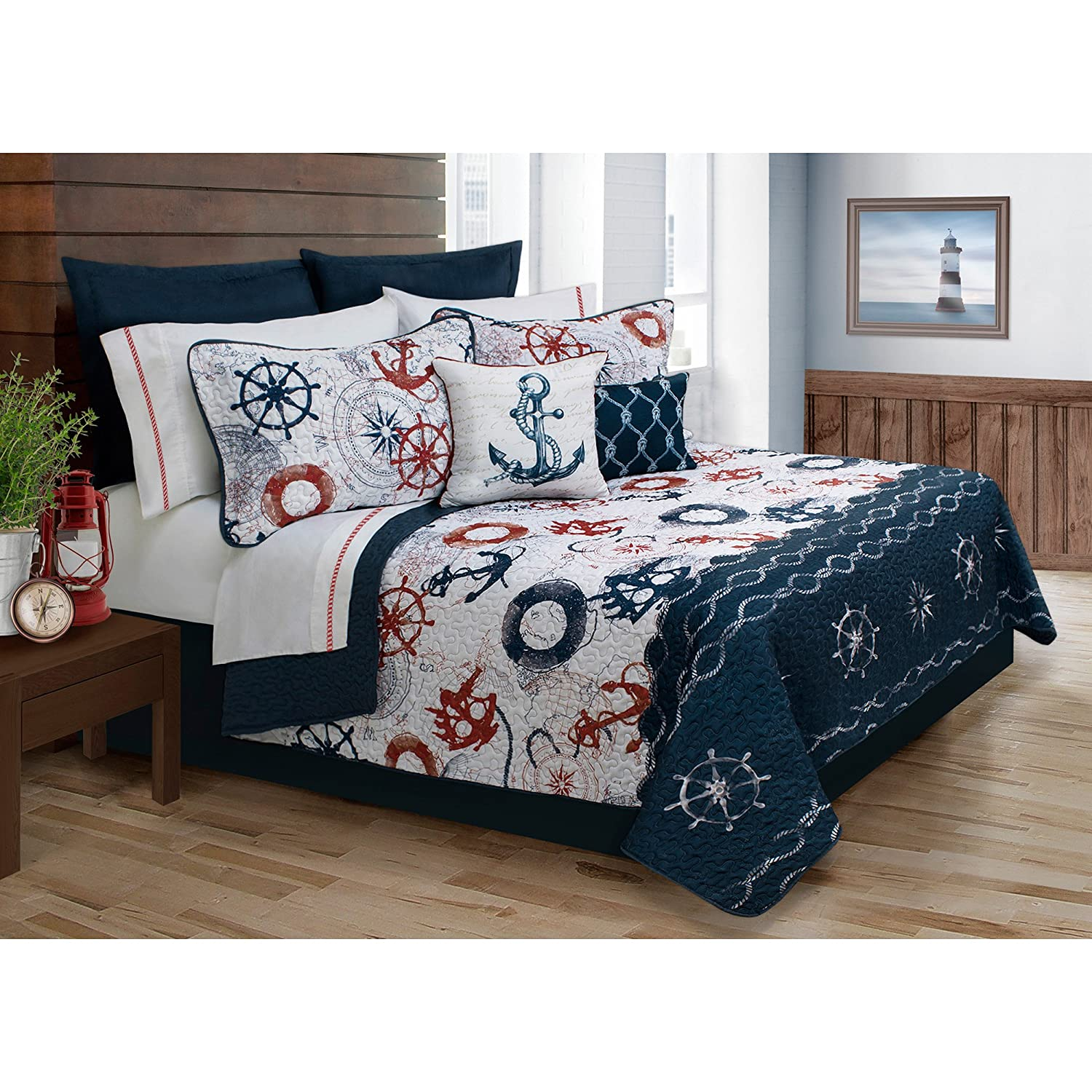 Safdie & Co. Collection Ocen Club 5 Piece Quilt and Sham Set, King 60118.5K.13