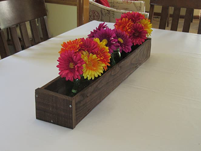 Stained Wood Planter Box O Mason Jar Centerpiece Long Candle Holder