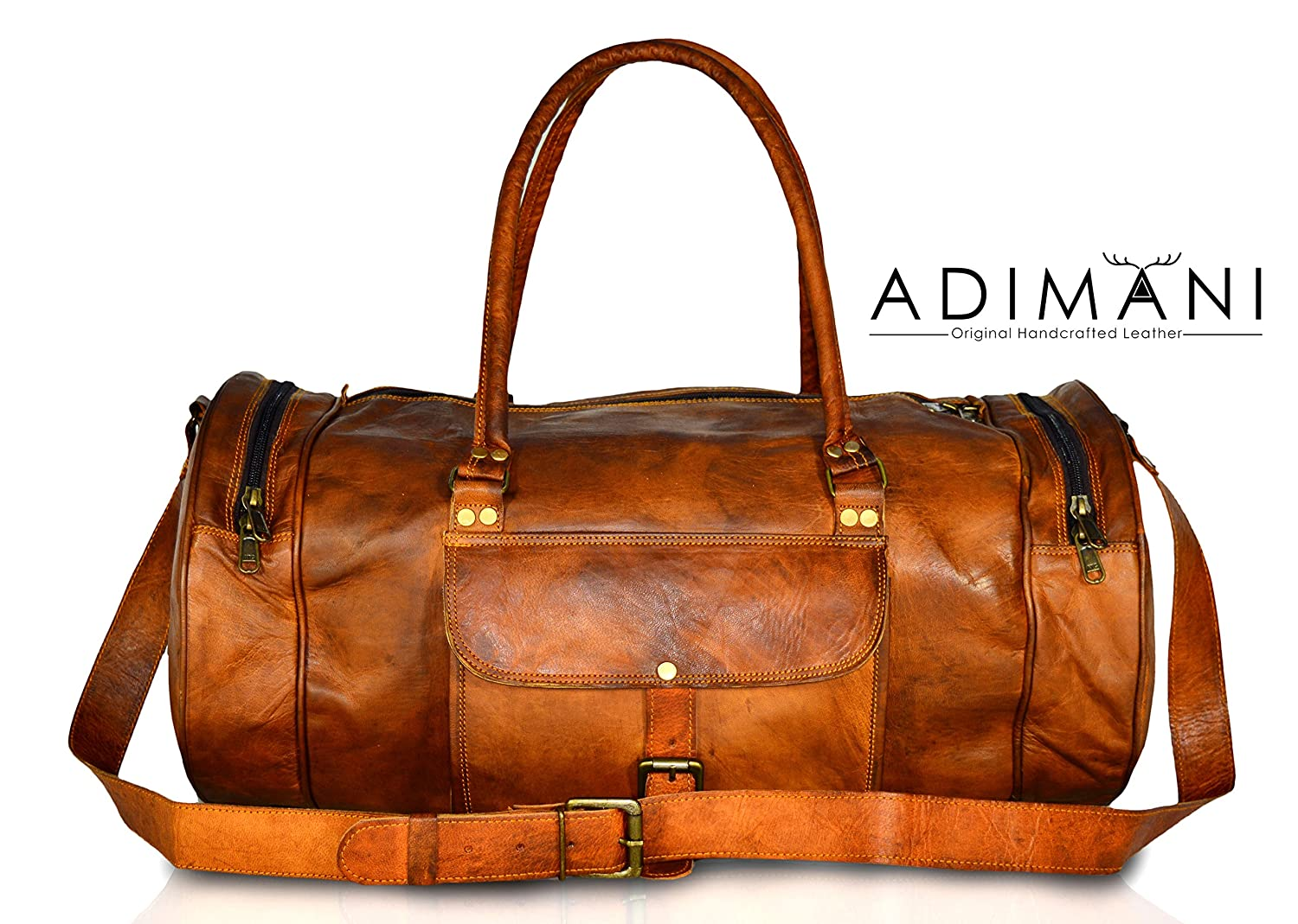 ... 06a59b96ae5 Adimani Vintage Leather Gym Workout Travel Weekend Bag For  Men - Brown (X- ... bf6533444a4ab