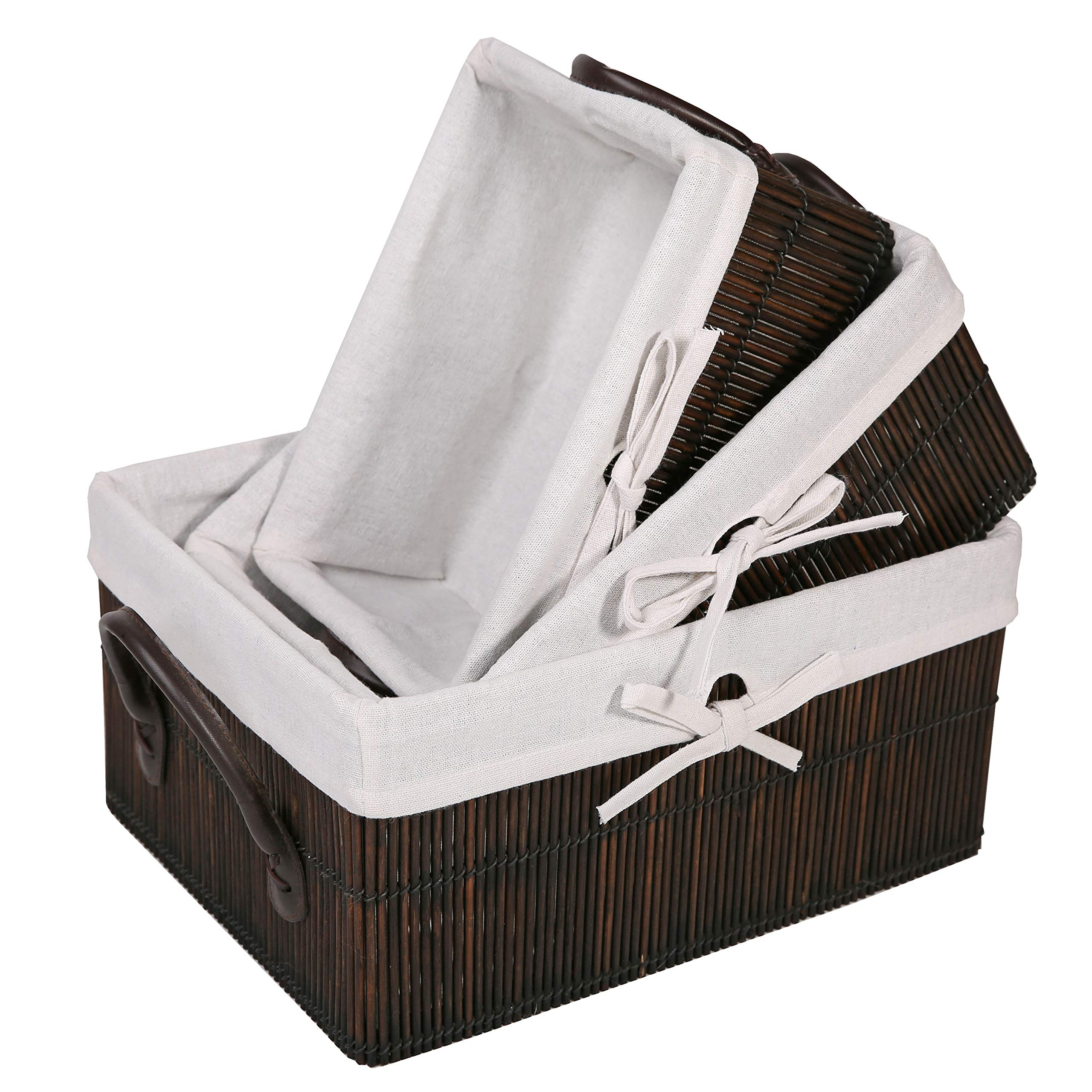 SLPR Bamboo Storage Baskets with Leather Handles and Lining (Set of 3)   Farmhouse Decorative Storage Boxes