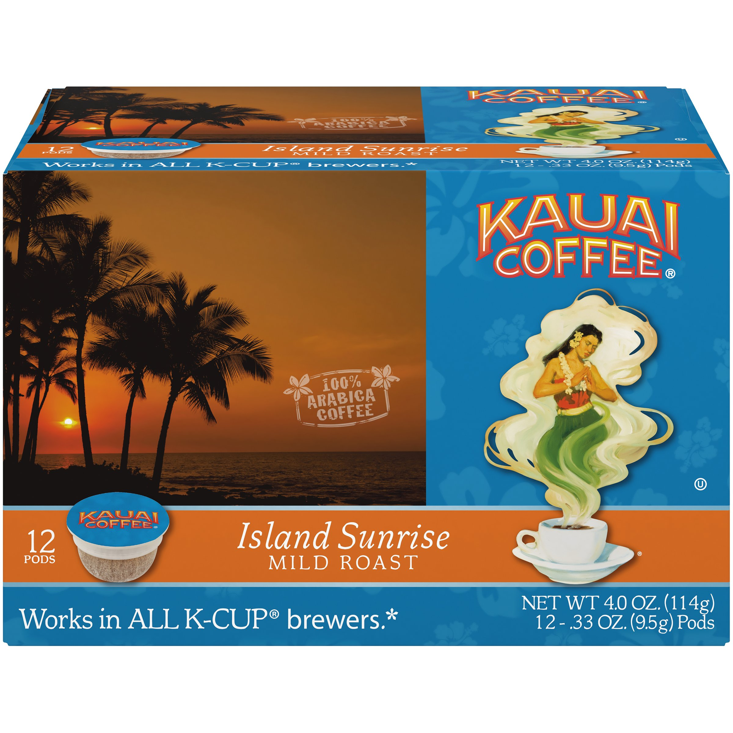 Kauai Coffee Single-serve Pods, Island Sunrise Mild Roast - 100% Premium Arabica Coffee from Hawaii's Largest Coffee Grower, Compatible with Keurig K-Cup Brewers - 72 Count