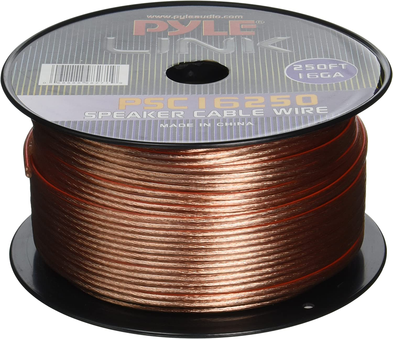 250ft 16 Gauge Speaker Wire - Copper Cable in Spool for Connecting Audio Stereo to Amplifier, Surround Sound System, TV Home Theater and Car Stereo - Pyle PSC16250: Home Audio & Theater