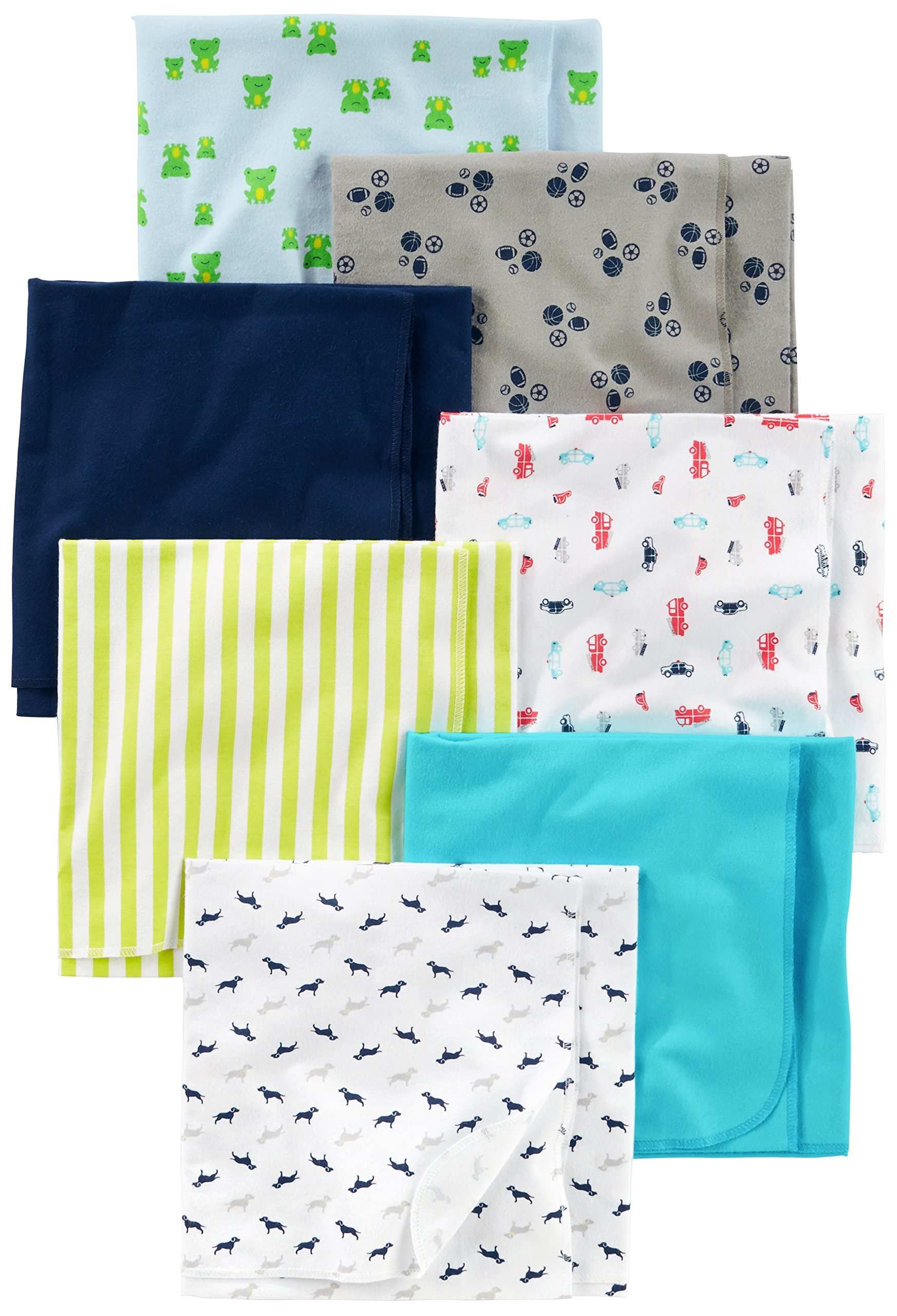Simple Joys by Carter's Baby Boys' 7-Pack Flannel Receiving Blanket, Blue/White, One Size by Simple Joys by Carter's
