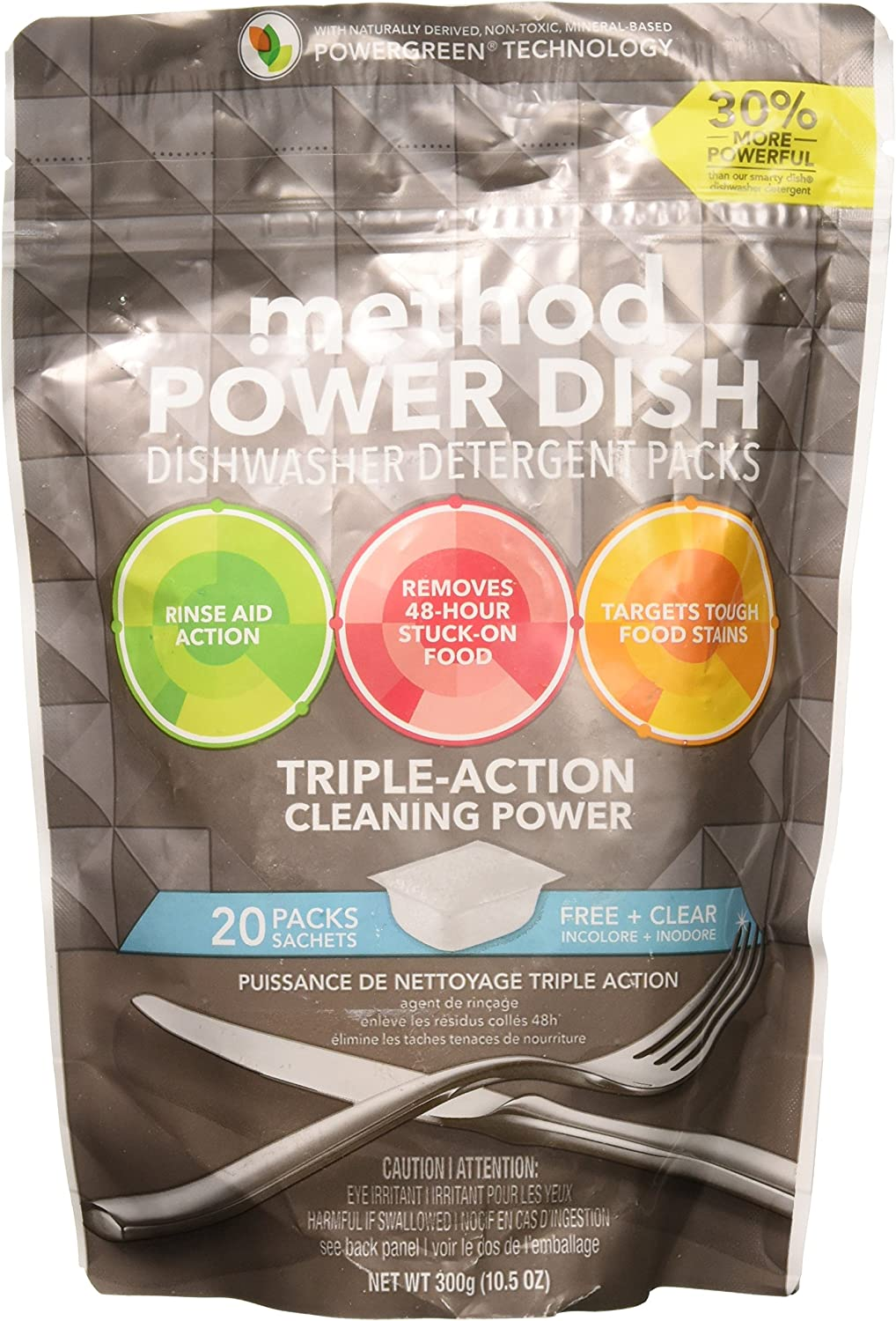 Method - Power Dish Dishwasher Detergent Packs Triple Action Cleaning Power Free, 20 Count (Pack of 1) (packaging may vary)