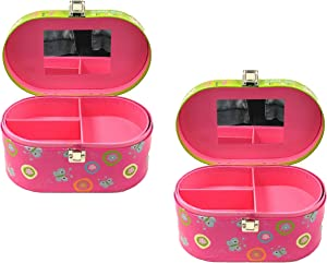 Disney Set of 2 Minnie Mouse Jewelry Box with Mirror and Removable Tray