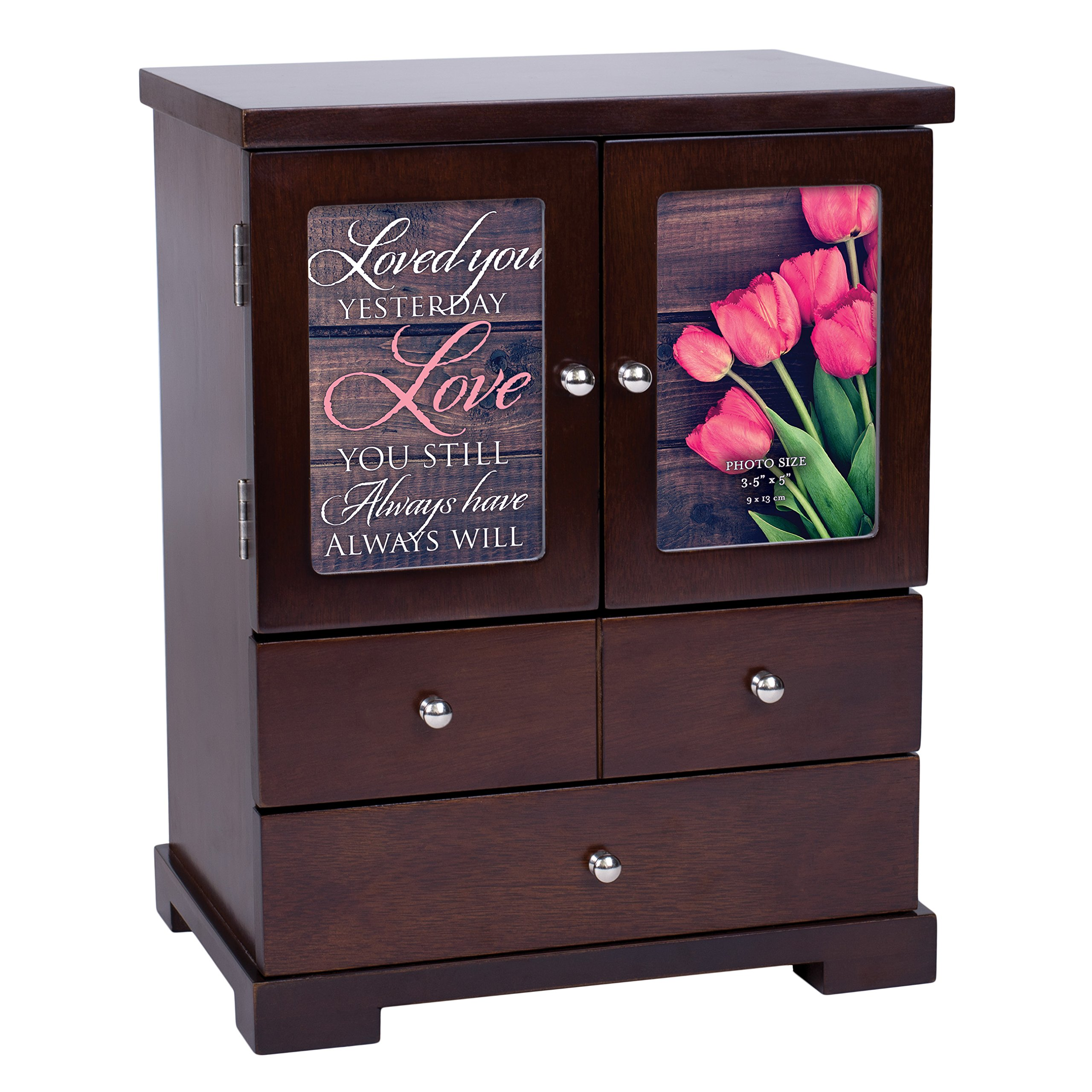Elanze Designs Love You Still Always Will 12 x 10 Walnut Wood Finish Jewelry Armoire