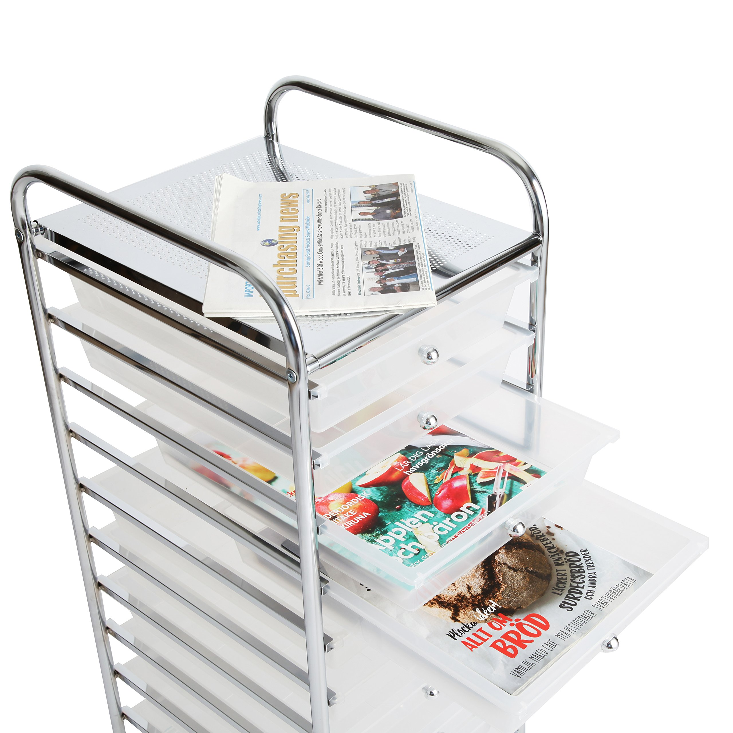 Finnhomy 10 Drawer Rolling Cart, Storage Rolling Carts with Semi-Transparent White Drawers, Organizer Cart for School, Office, Home, Beauty Salon,Utility Cart with Wheels by Finnhomy (Image #6)