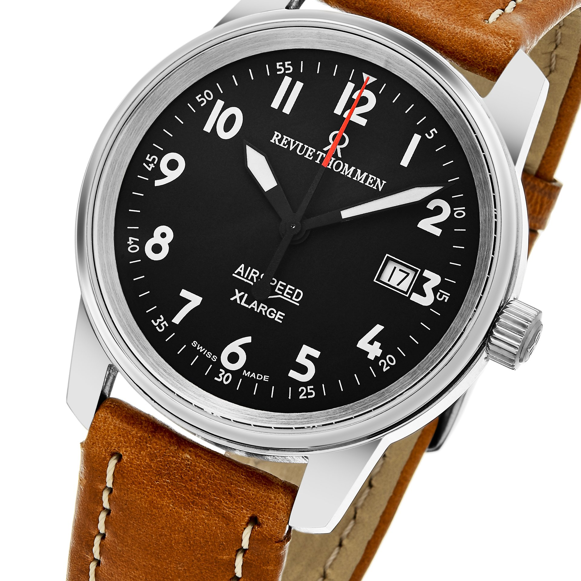 Revue Thommen 'Air Speed XL' Black Dial Brown Leather Strap Swiss Mechanical Watch 16052.2537 by Revue Thommen (Image #3)