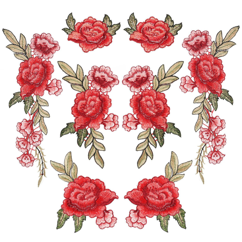 8 Pezzi Ricamato Toppe Patch Fiore da Cucire Patch Rosa per Jeans, Abbigliamento, Cappello, Scarpe Pangda