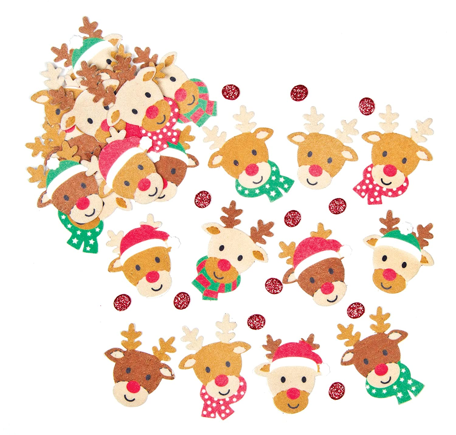 Baker Ross EF428 Santa Hat Felt Stickers for Children to Decorate Winter Crafts Cards and Collage Assorted Pack of 100