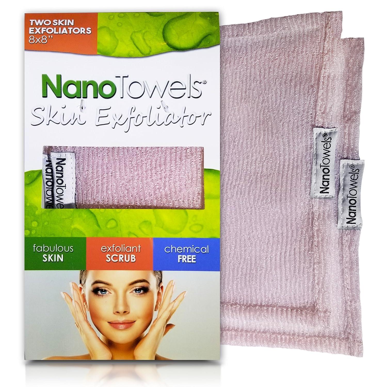 Nano Towels Skin Exfoliating Cleanser | Personal Microdermabrasion Face Wash, Pore Toner & Body Scrub Cloth | Chemical Free Dead Skin and Blackhead Remover. Korean Skin Care Secret | 2 Exfoliators