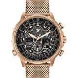 Citizen Navihawk Men's Eco-Drive Watch with Black Dial Analogue Display and Rose Gold Plated Stainless Steel Bracelet JY8033-51E