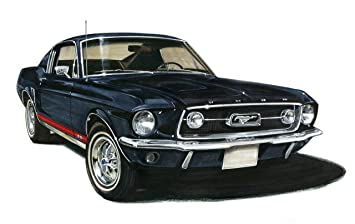 old tin sign 1967 ford mustang fastback black