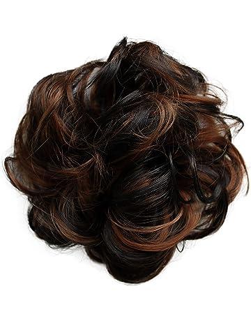 PRETTYSHOP Postizo Coletero Peinado alto, VOLUMINOSO, rizado, Moño descuidado marrón de la mezcla