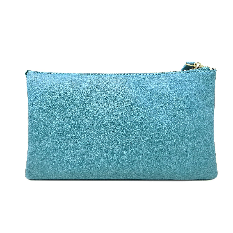 Solene dam och flickor flerfack funktionellt emblem crossbody väska med avtagbar armband BLÅ