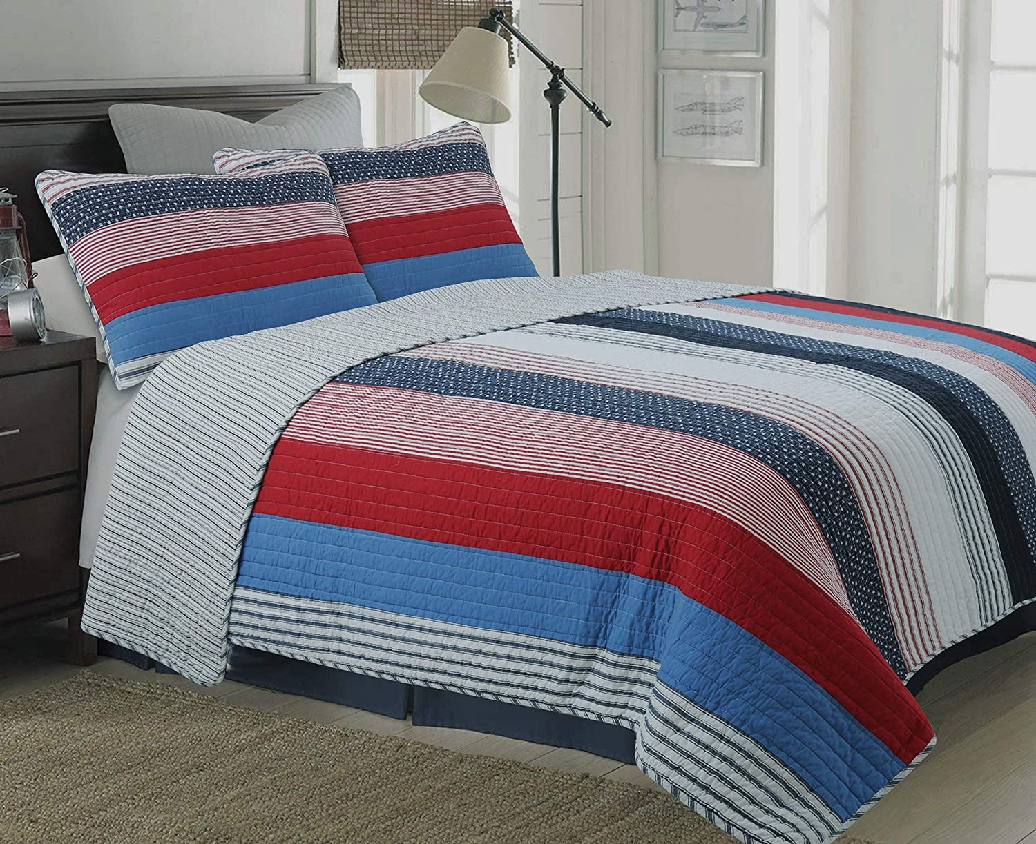 Cozy Line Home Fashions Axel Bedding Quilt Set, Navy Blue Red Striped Print  100% Cotton Reversible Coverlet Bedspread, Gifts for Kids/Boy(Axel Stripe,  Twin ...