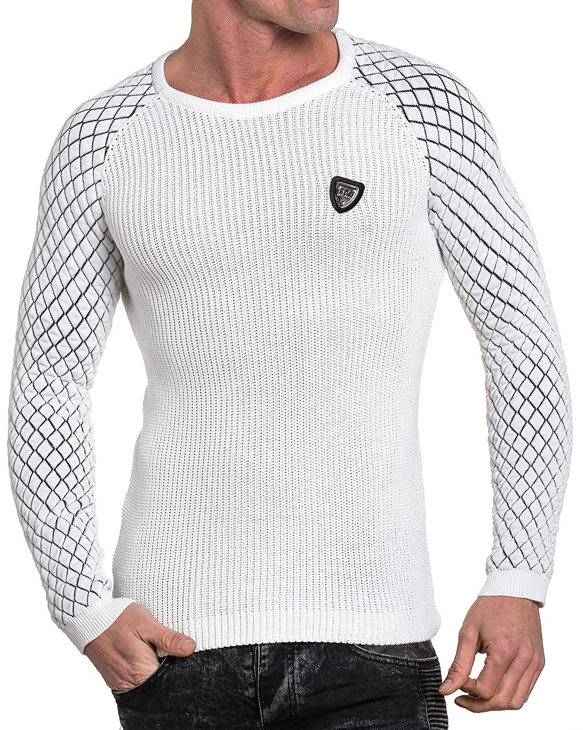 BLZ jeans - white ribbed sweater sleeves tend man
