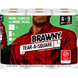 Brawny Tear-A-Square Paper Towels, 6 Rolls, 6 = 9 Regular Rolls, 3 Sheet Size Options, Quarter Size Sheets