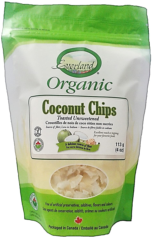 Everland Coconut Chips Toasted Unsweetened Organic 113g Jiva Organics