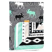 Dear Baby Gear Deluxe Baby Blankets, Custom Minky Print Black, Grey, Mint Moose, Aztec Minky