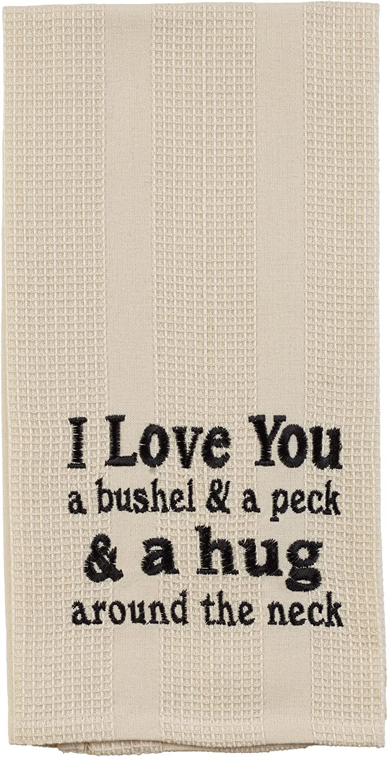 The Country House Collection I Love You Bushel and Pack 19 x 28 Inch Embroidered Cotton Waffle Dish Towel