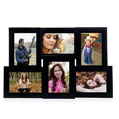 Wens 6 Picture Mdf Photo Frame 20 Inch X 13 Inch Black Amazonin