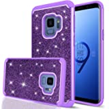 Samsung Galaxy S9 Glitter Case for Girls Women, LeYi Bling Cute Design [PC Silicone Leather] Dual Layer Heavy Duty Protective Phone Case for Galaxy S9 TP Purple