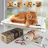 Cat Window Perch - Free Fleece Blanket and Toy – Extra Large and Sturdy – Holds Two Large Cats – Easy to Assemble!