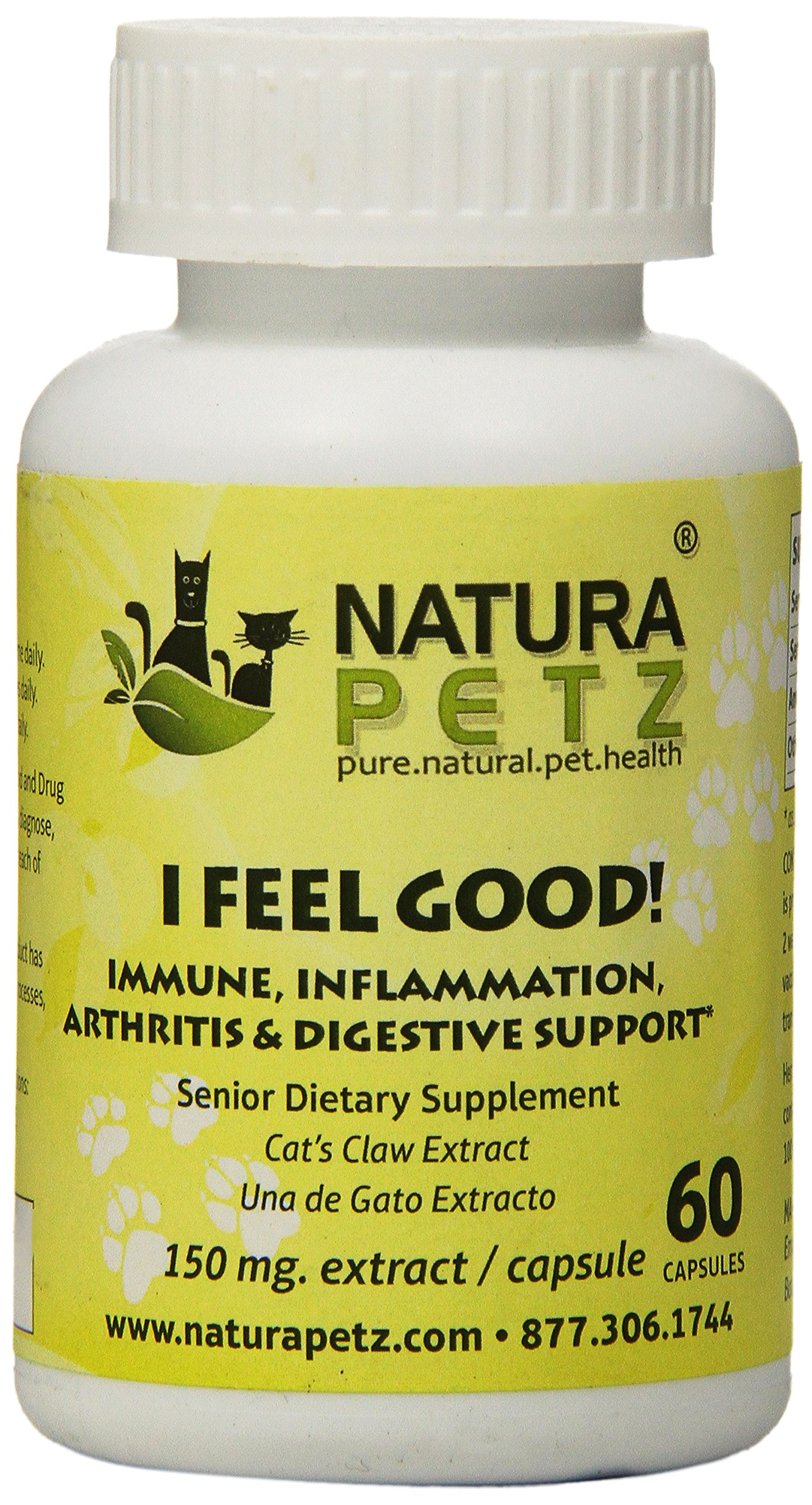 Natura Petz I Feel Good! Immune, Inflammation, Arthritis and Digestive Support for Senior Pets, 60 Capsules Extract, 150mg Per Capsule