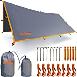 Rain Fly Tent Tarp - Waterproof Lightweight Survival Gear Shelter for Camping, Backpacking, and Outdoor Living - 9.8' x 9.3' Tarp Tent by WildVenture