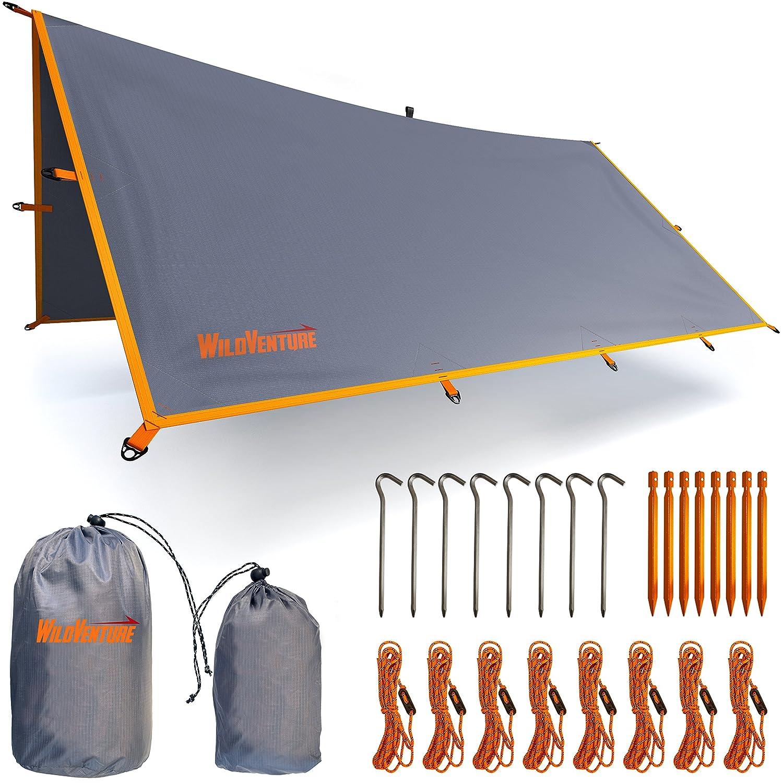 Rain Flyテントタープ – 防水軽量のサバイバルギアShelterキャンプ、バックパッキング、およびアウトドア生活 – 9.8 X 9.3 'タープテントby wildventure B078GBZ3CT