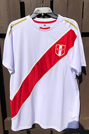 Camiseta Seleccion Peruana Peruvian Soccer Jersey Replica in White (Medium)
