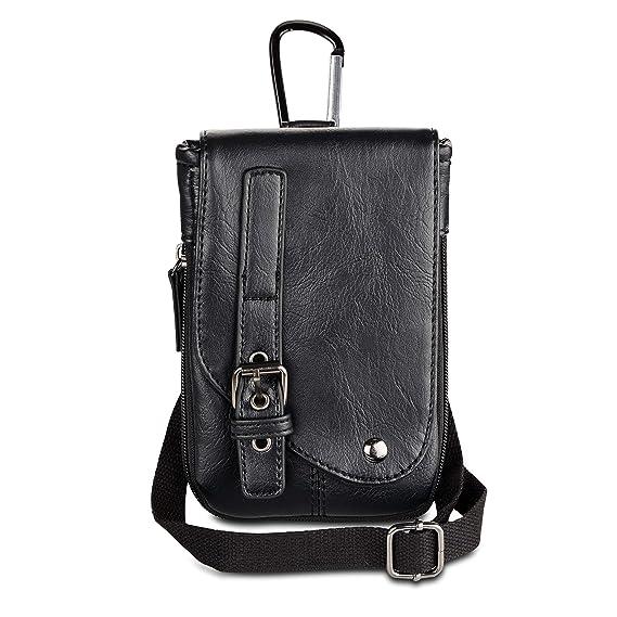 f5ed7b37f4 Amazon.com  Mens Leather Hip Bag Vertical Cellphone Belt Waist Bag ...