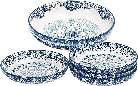Amazon Com Bico Blue Talavera Ceramic Pasta Bowl Set Of 5 1 Unit 214oz 4 Units 35oz For Salad Microwave Dishwasher Safe Bowls