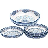 Bico Blue Talavera Ceramic Pasta Bowl, Set of 5(1 unit 214oz, 4 units 35oz), for Pasta, Salad, Microwave & Dishwasher Safe