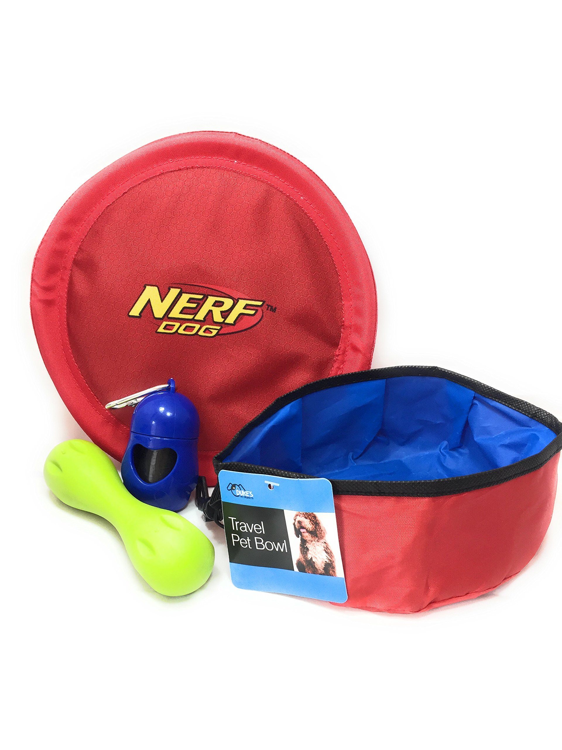 Dog Toys with 1 Medium Nerf Dog Flyer Flying Disc, 1 Rubber Bone, 1 Dispenser with 20 Poo Bags, and 1 Collapsible Travel Pet Bowl