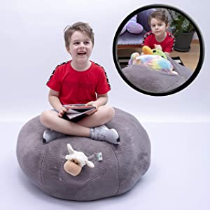 Kroco Luxury Edition Stuffed Animal Storage Plush Bean Bag Chair Cover - Toy Storage Beanbag - Replace Boxes, Mesh Toys Hammock Net - Store Costume, Blankets/Pillows Too - 38´´Grey, Plush