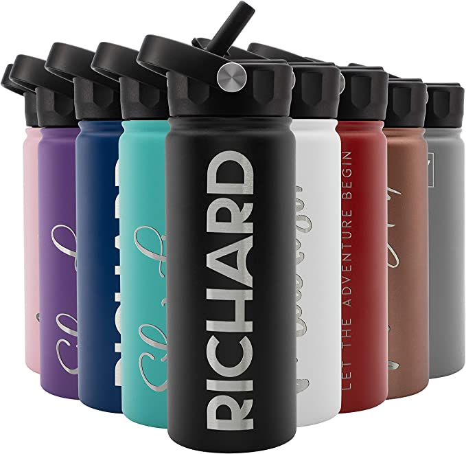 Amazon Com Amazing Items Personalized Water Bottle With Straw Lid 4 Sizes 9 Colors 9 Design Options Sports Outdoors