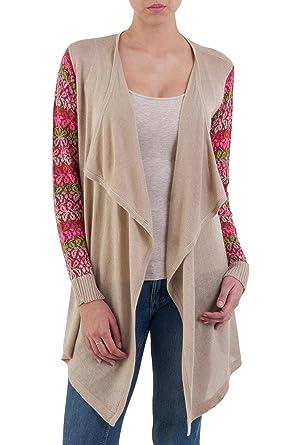 c36155e4526fac Amazon.com  NOVICA Long Sleeve Cotton Blend Cardigan Sweater