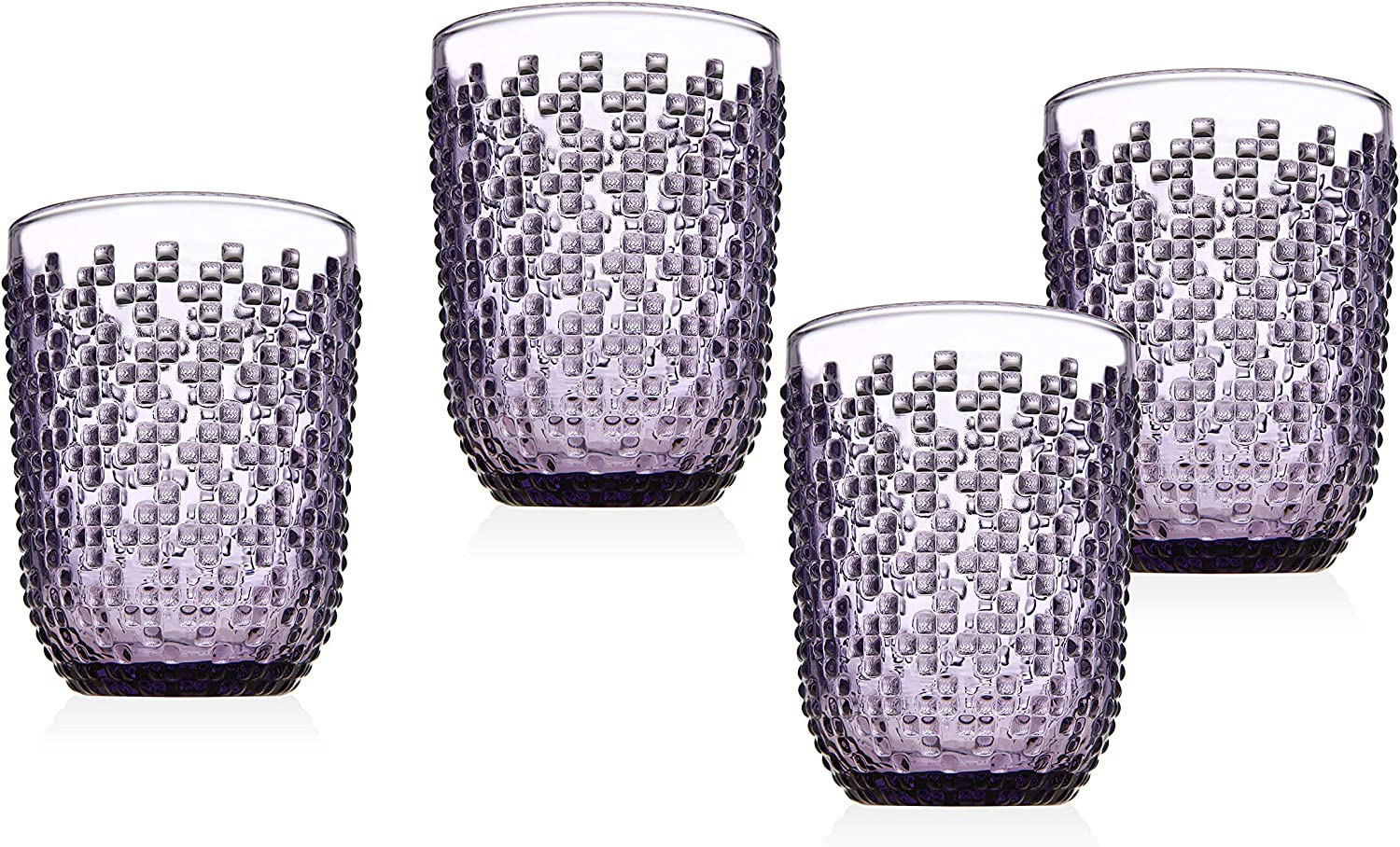 Double Old Fashioned Glasses Beverage Glass Cup Alba by Godinger – Amethyst – Set of 4