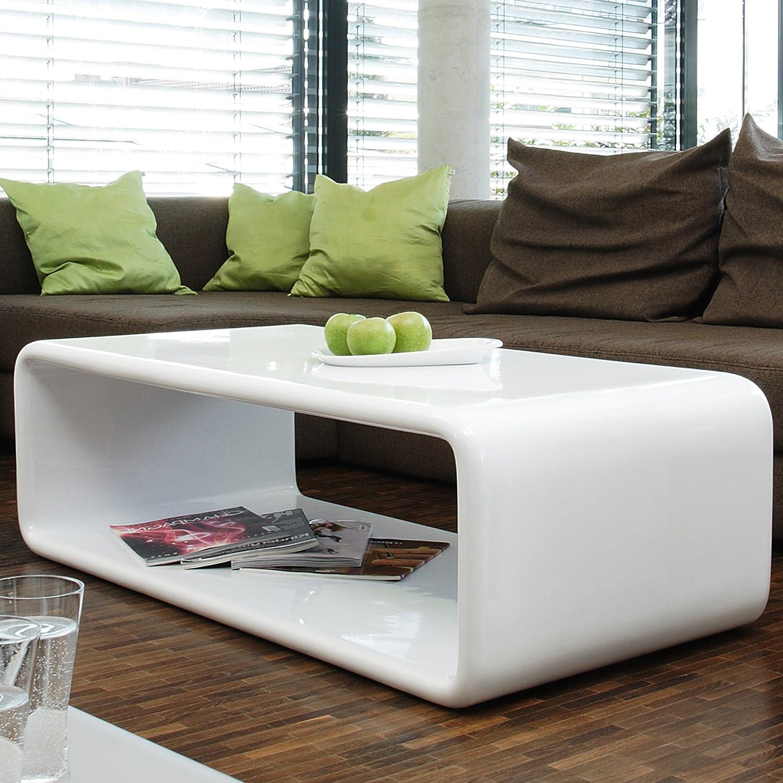 Couch-Tisch weiß Hochglanz 120x60 cm aus Fiberglas recht-eckig ...