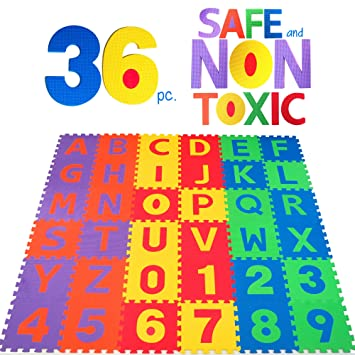 non toxic 36 piece abc foam mat alphabet number puzzle play flooring