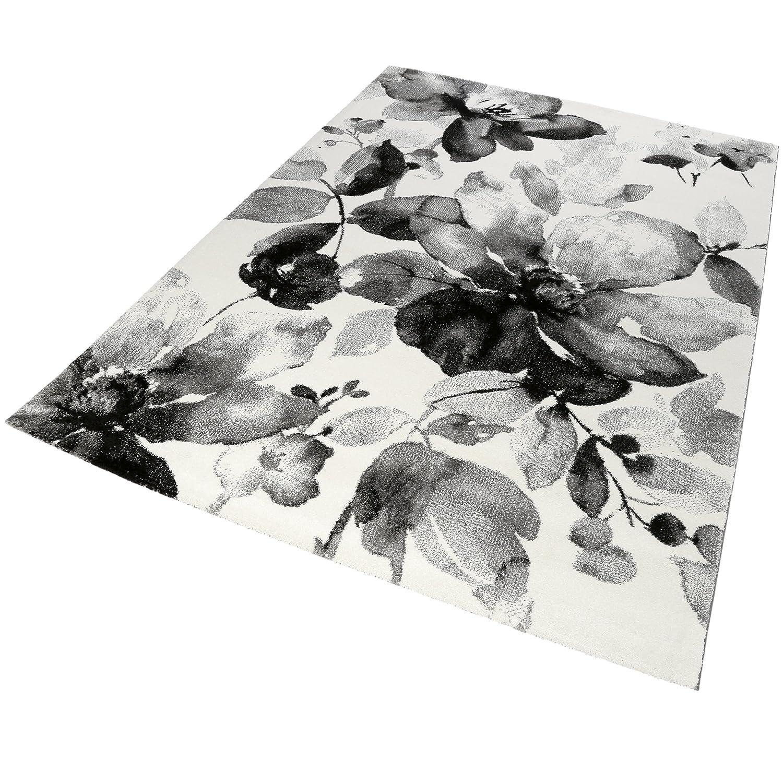 Homie Living Teppich 160x230 grau weiß mit Blumenmuster sehr pflegeleicht Design  21854-695