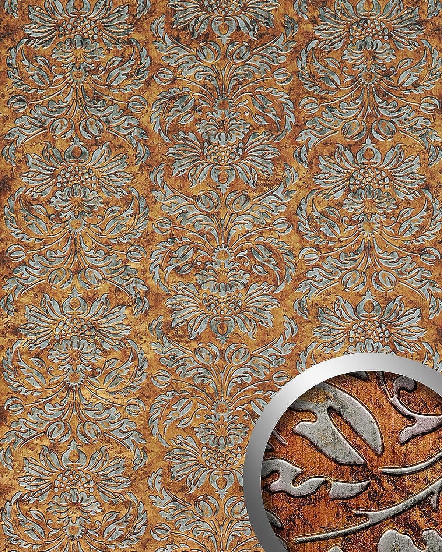Panel decorativo autoadhesivo diseño barroco WallFace 14801 IMPERIAL damasco relieve 3D negro cobre vintage 2,60 m2: Amazon.es: Bricolaje y herramientas