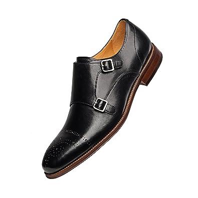 156d74a7fb60 COMOTEK Men s Classic Double Monk Strap Full Grain Leather Shoes