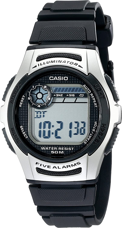 Casio Men's W213-1AVCF Basic Black and Silver Digital Watch