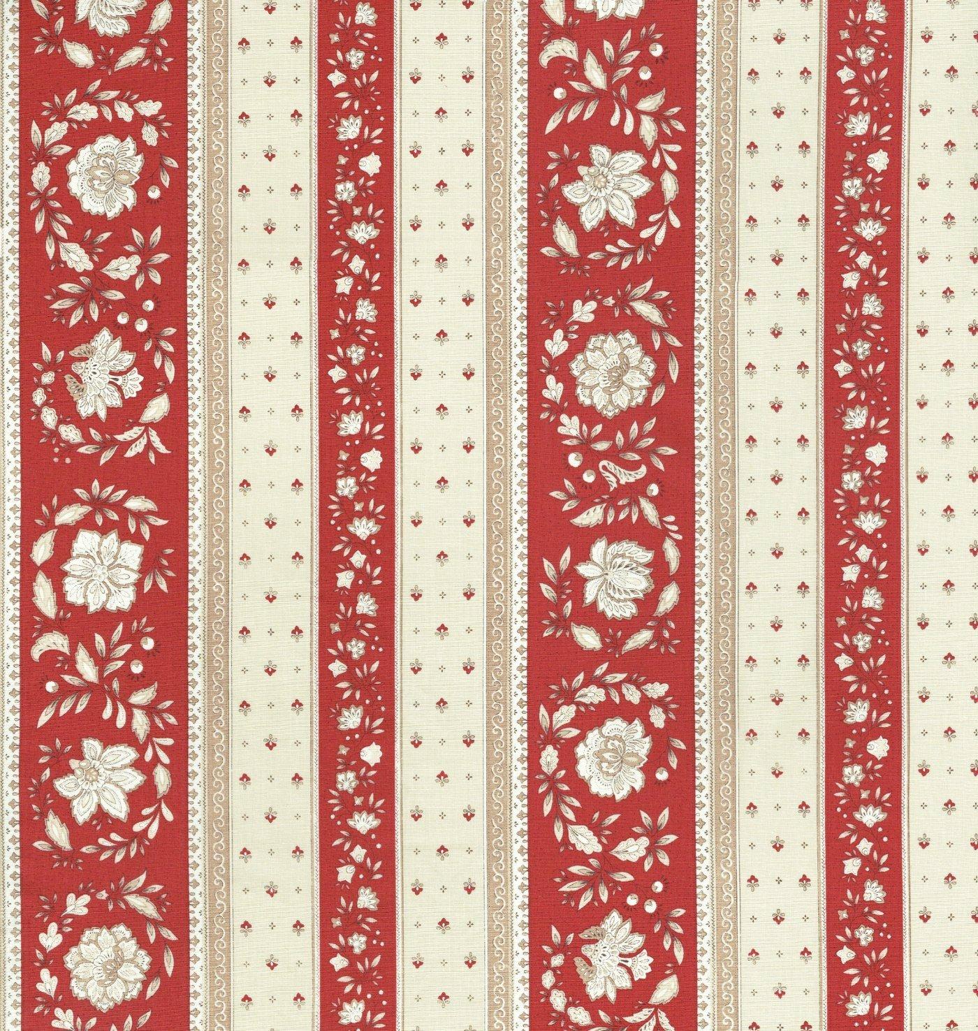 Tela de algodón estampada - Tela provenzal - rayas florales | Rojo renacentista & crema de caramelo | 100% algodón suave | ancho: 160 cm (por metro ...