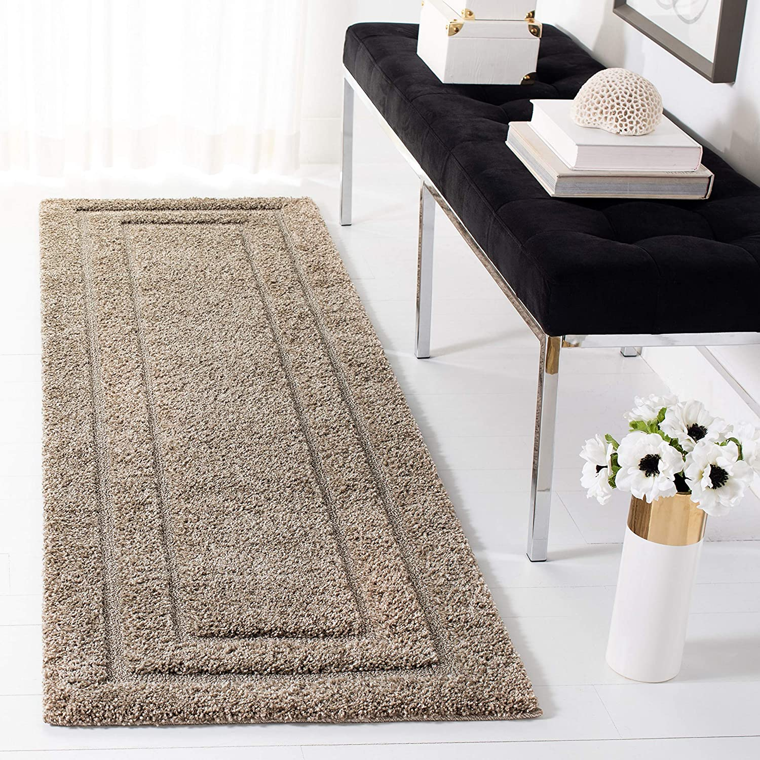 SAFAVIEH Florida Shag Collection SG454 Border Non-Shedding Living Room Bedroom Dining Room Entryway Plush 1.2-inch Thick Runner, 2'3