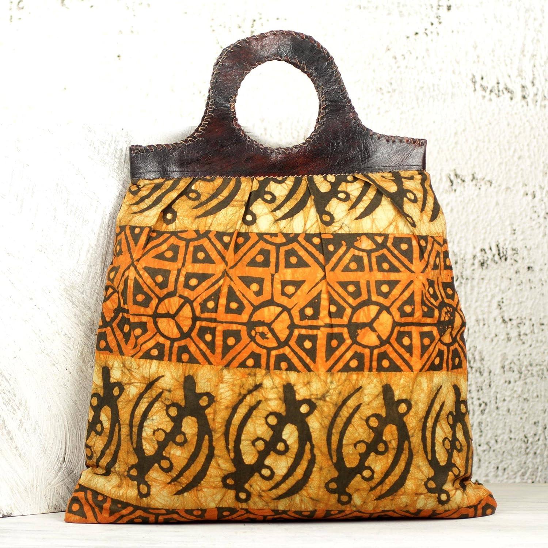 Heavenly Sunrise NOVICA Brown Cotton Batik and Leather Handbag