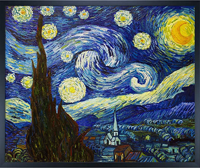 Amazon Com La Pastiche Overstockart Van Gogh Starry Night Painting With Studio Black Wood Frame Oil Paintings Paintings